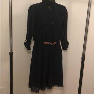 Blue Dress w/ Tan Faux Leather Waist Buckle - #A11